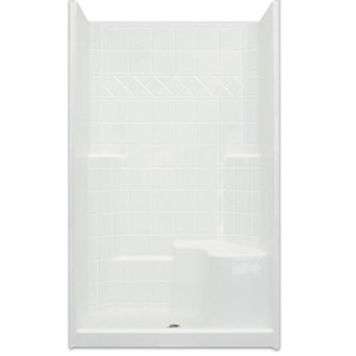Aquarius AcrylX™ 48W x 37D x 80H Shower | 21 inch Comfort Height seat | Tile Pattern | CHM 3648 SH | low price shower | best price shower | cheap one piece shower | grab bar shower | cheap shower | Discount shower | aging in place shower | accessible showers