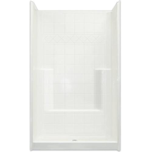 Aquarius  AcrylX™ One-Piece Reinforced Shower | Tile Pattern Wall | Foot ledge | 42W x 42D x 80H | Center Drain | CHM 4242 SH, best price shower, cheap one piece shower, grab bar shower, cheap shower, Discount shower, aging in place shower, accessible shower, reinforced shower