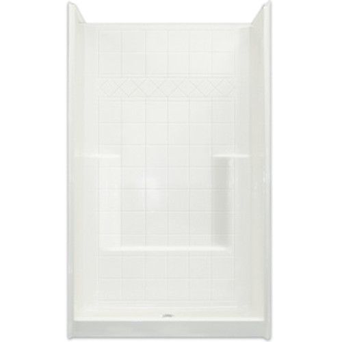 Aquarius  AcrylX™ One-Piece Reinforced Shower | Tile Pattern Wall | Foot ledge | 42W x 42D x 80H | Center Drain | CHM 4242 SH, best price shower, cheap one piece shower, grab bar shower, cheap shower, Discount shower, aging in place shower, accessible shower, reinforced shower