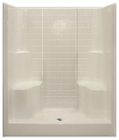 Aquarius ACRYLX™ 60W x 36D x 75H Shower Simulated Tile Pattern | 2 Molded Seats | Center Drain | G6099SH2STile