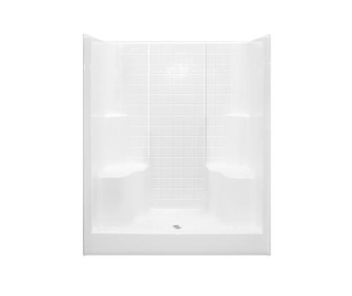 Aquarius AcrylX™ Alcove Shower 2 Seats 60W x 36D x 75H Tile Pattern Center Drain G 6099 SH 2S Tile