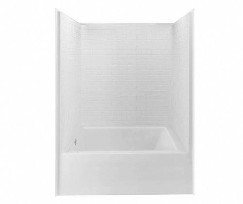 Aquarius AcrylX™ Subway Tile Look One-Piece Tub Shower 60″ X 43 1/4″ X 84 1/4″ L/R Drain G 6042 TS STM