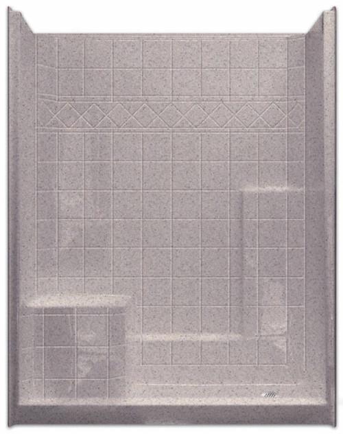 Aquarius | Millennia 60 x 33 | Gelcoat Shower | Tile Pattern | Molded Seat Left | M6032SH1STile