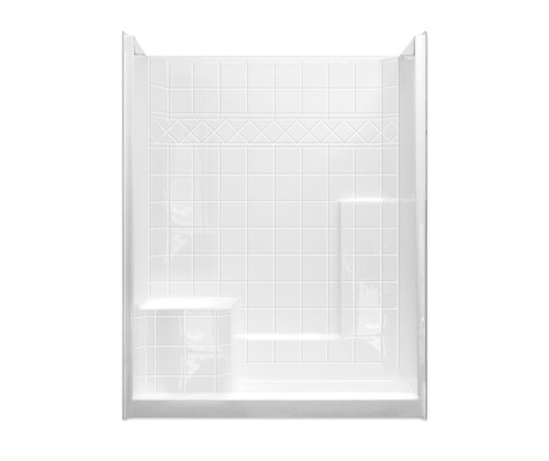 "Aquarius Millenia Collection One Piece Alcove Shower 60″W X 33″D X 77″H Integrated Seat 6"" Tile Pattern M 6032 SH 1S Tile"