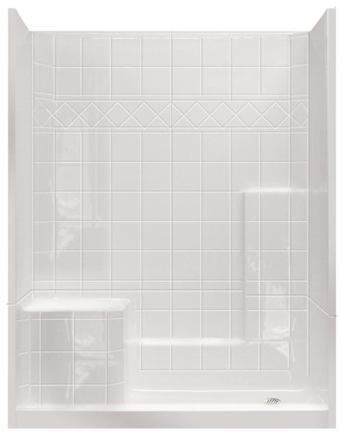 "Aquarius Millennia | 3-Piece Shower With Tile Pattern | 60""W x 33""D x 77""H | LH Seat M6032SH1S3PTile L ,  Sectional shower, remodel shower, multi-piece shower, 2 piece shower, low threshold, two piece, two piece shower, Cheap sectional shower, Discount standard sectional, low price shower, best price shower, cheap one piece shower, grab bar shower, cheap shower, Discount shower, aging in place shower, accessible showers, cheap shower base, discount shower base, low price shower base, best price shower base, tile shower base, accessible shower base, aging in place shower base, no threshold shower base, low threshold shower base"