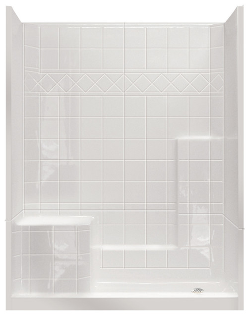 """Aquarius Millennia 3-Piece Alcove Shower with Seat 60""""W x 33""""D x 77""""H Tile Pattern M 6032 SH 3P 1S Tile"""