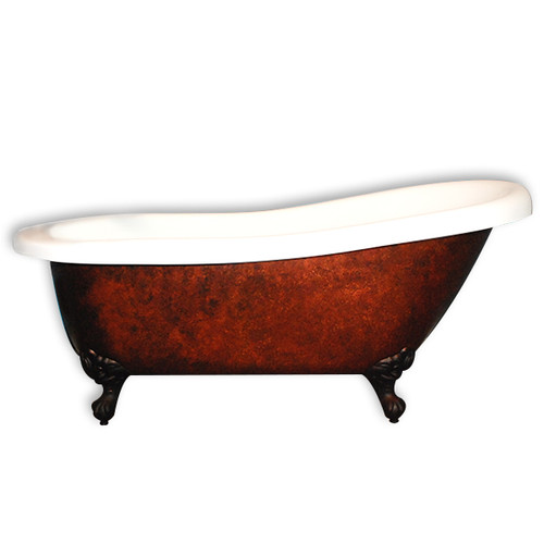 "Cambridge Plumbing - Acrylic Slipper Clawfoot Bathtub 67?x30? Faux Copper Bronze Finish on Exterior with 7"" Deck Mount Faucet Drillings and Oil Rubbed Bronze Feet - AST67-CPRBRNZ-ORB-7DH"