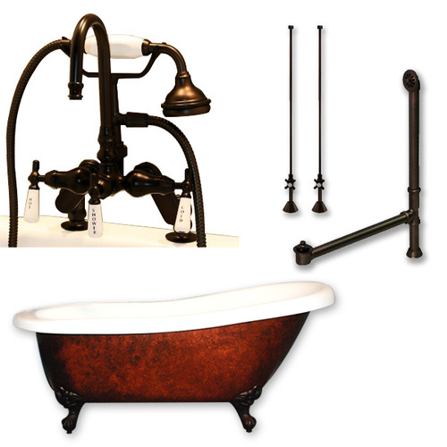 "Cambridge Plumbing - Acrylic Slipper Clawfoot Bathtub 67?x30? Faux Copper Bronze Finish on Exterior with 7"" Deck Mount Faucet Drillings and Complete Oil Rubbed Bronze Plumbing Package 2"