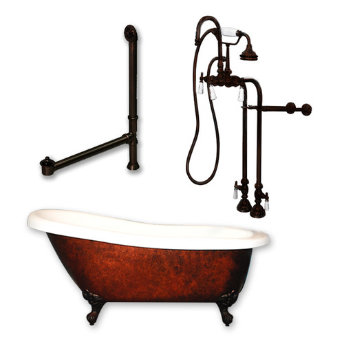 "Cambridge Plumbing - Acrylic Slipper Clawfoot Bathtub 61?x30"" Faux Copper Bronze Finish on Exterior with No Deck Mount Faucet Drillings and Complete Freestanding Oil Rubbed Bronze Plumbing Package 2"