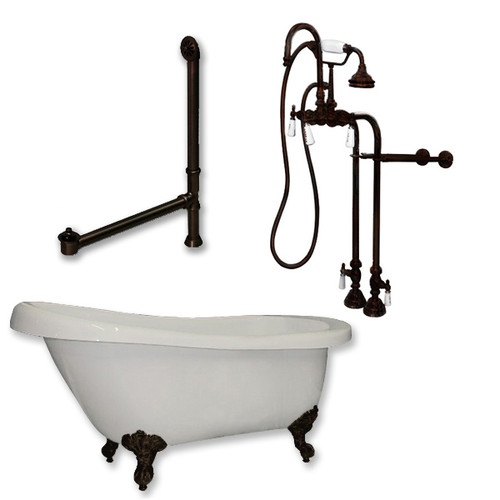 Cambridge Plumbing - Acrylic Slipper Clawfoot Bathtub 67?x30? Faux Copper Bronze Finish on Exterior with No Deck Mount Faucet Drillings and Complete Freestanding Oil Rubbed Bronze Plumbing Package 2