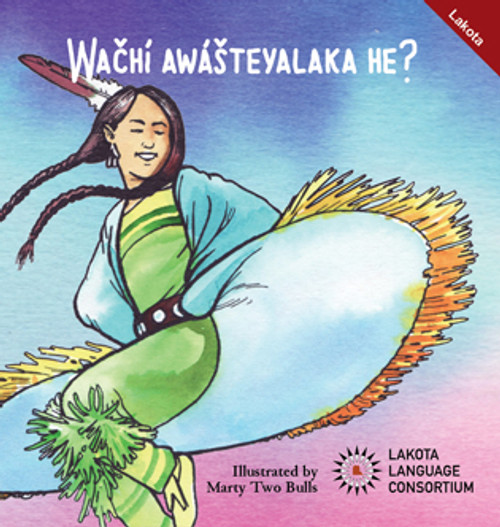 Wačhí Awášteyalaka he? is a monolingual picture book designed for early elementary and preschool children. It asks various questions about dancing and features beautiful illustrations by Marty Two Bulls.