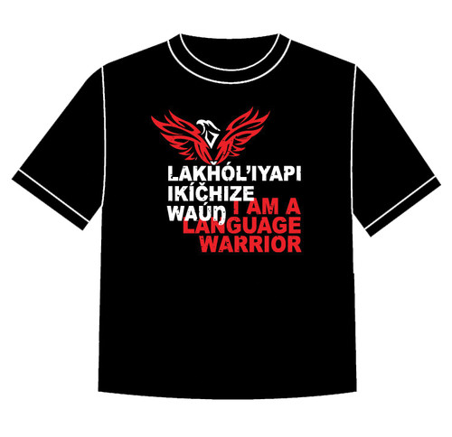 Lakȟól'iyapi Ikíčhize Waúŋ - I am a Lakota Language Warrior T-shirt Red (TODDLER size 5/6)
