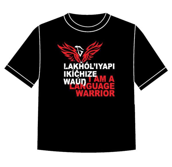 Lakȟól'iyapi Ikíčhize Waúŋ - I am a Lakota Language Warrior T-shirt Red (TODDLER size 5/6)
