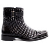 Belvedere Libero Black Caiman Crocodile & Quilted Leather Men's Boots