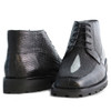 Los Altos Black Genuine Stingray & Lizard Skin Demi Boots