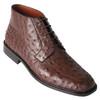 Los Altos Brown Genuine Ostrich Skin Ankle Boots
