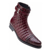 Belvedere Libero Wine Caiman Crocodile& Quilted Leather Men's Boots