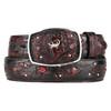 King Exotic Genuine Caiman Black Cherry Belt