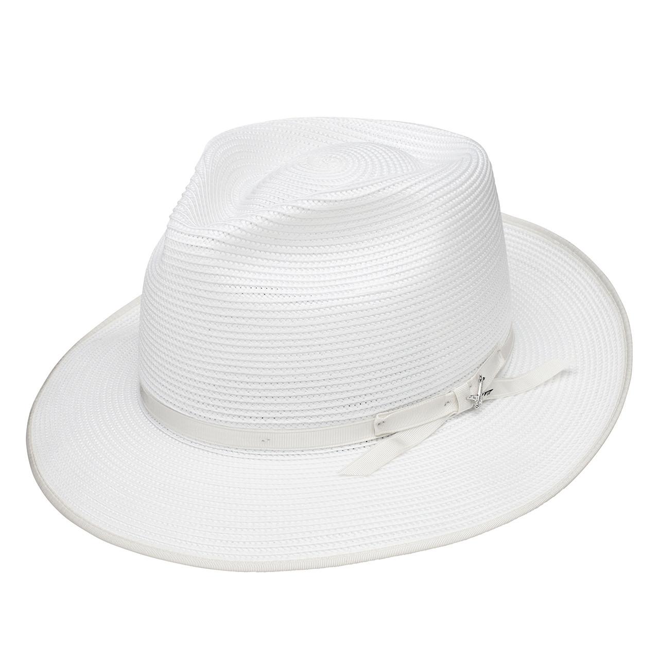Stetson Stratoliner White Florentine Milan Firm Finish Straw Hat 139d504fb6c