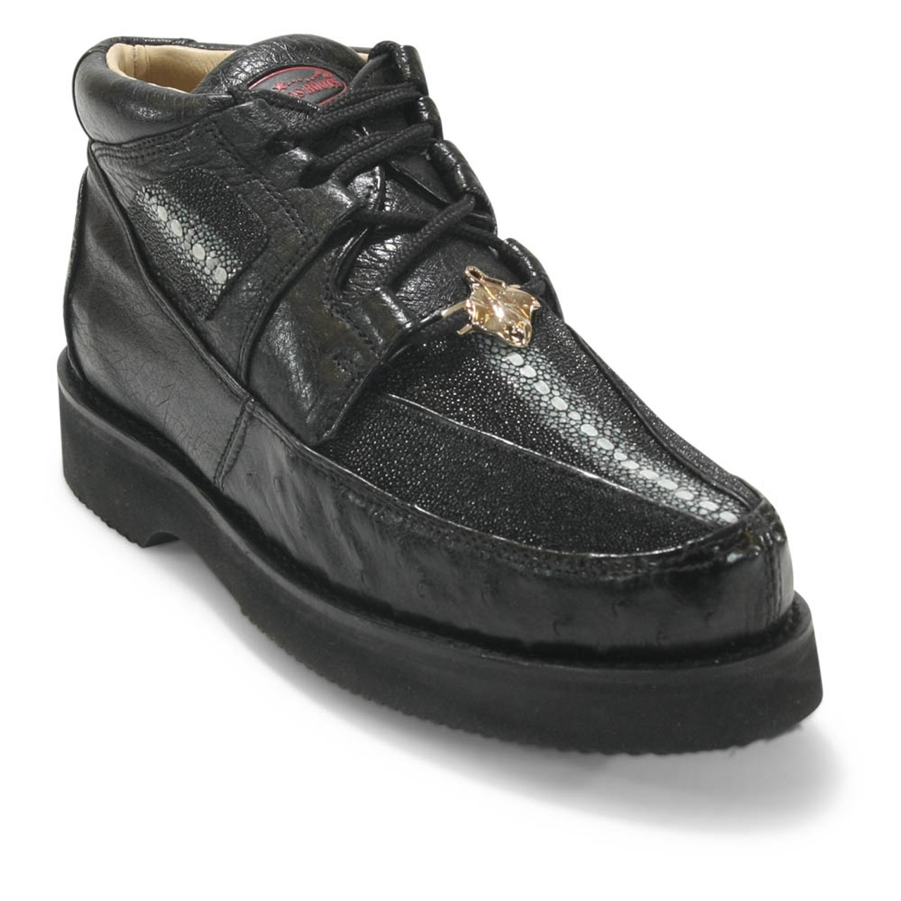 Los Altos Genuine WINTER BLACK Stingray With Ostrich Casual Shoes Lace Up D