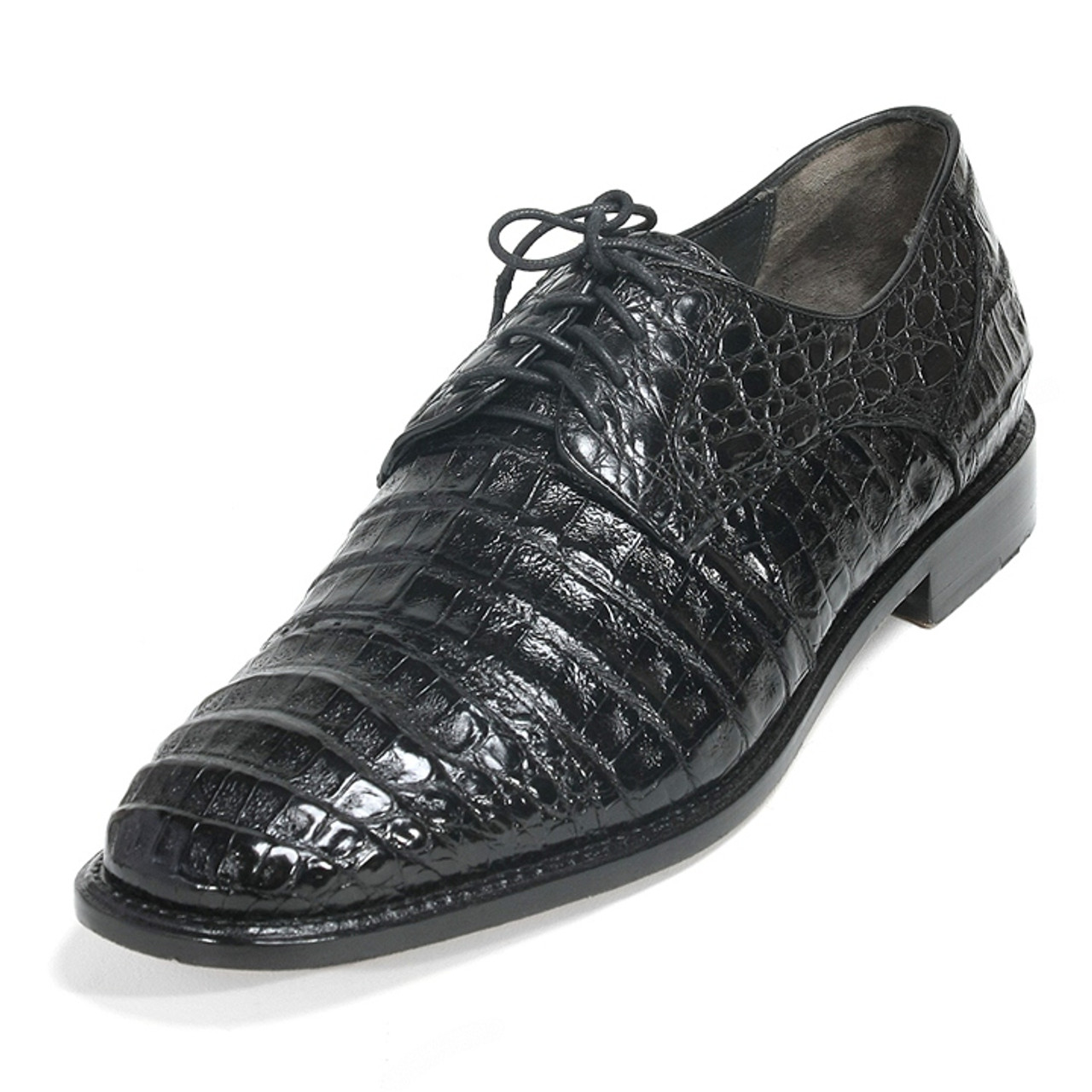 Los Altos BLACK WHITE Genuine Caiman Crocodile With Lizard Dress Shoes Oxford D