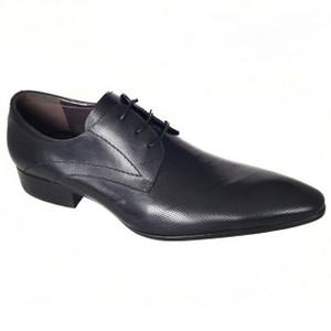 Zota Black Leather Plain Toe Lace-ups