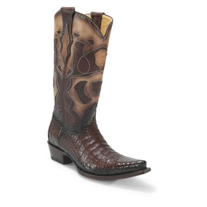 Los Altos Brown Genuine Caiman Belly Snip Toe Boots