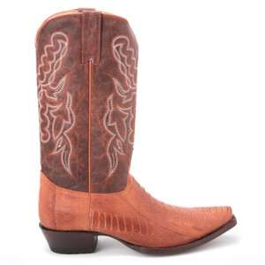 King Exotic Cognac Genuine Ostrich & Leather Boots