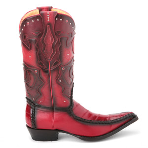 King Exotic Red Genuine Eelskin Burnished Boots