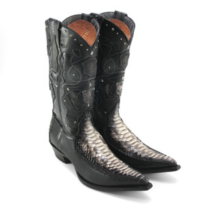 King Exotic Black Genuine Python Boots