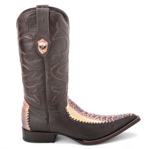 Wild West Natural Genuine Ostrich & Leather Boots