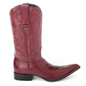 Wild West Burgundy Genuine Eelskin Boots