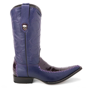 Wild West Purple Genuine Eelskin Boots