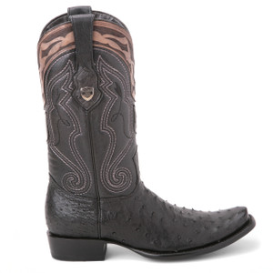 Wild West Black Genuine Ostrich Boots