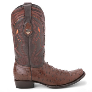 Wild West Brown Genuine Ostrich Boots