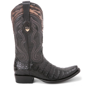 Wild West Black Genuine Caiman Boots