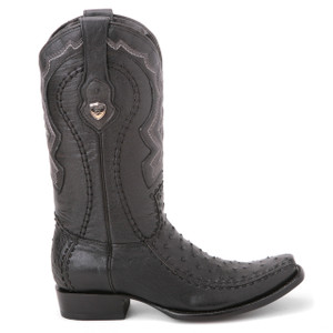 Wild West Black Genuine Ostrich & Leather Boots