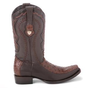 Wild West Brown Textured Genuine Ostrich & Leather Boots