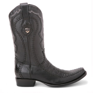 Wild West Black Genuine Caiman Skin Boots