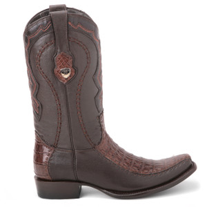 Wild West Brown Genuine Caiman Skin Boots