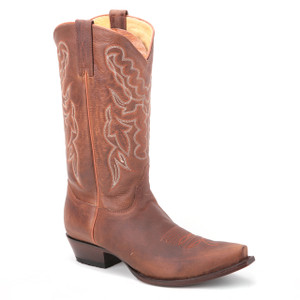 These designer boots in genuine leather feature a brown shade and has been taken fresh from this year's collection of King Exotic. It has a snip toe profile.