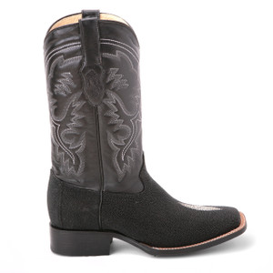 King Exotic Black Genuine Stingray Saddle Boots