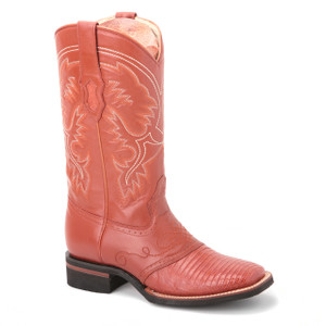 These cognac boots in genuine lizard skin from King Exotic will never go out of trends. Featuring a 13-inch embroidered leather shaft, they have a square toe.