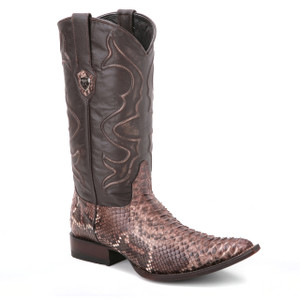 A flawless combination of black and rustic brown, this pair of python skin boots from Wild West are a stunner. They have a classic shaft and a 1.5-inch heel.