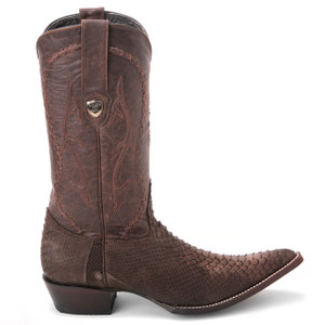 Wild West Boots Brown Nubuk Finish Genuine Python Boots