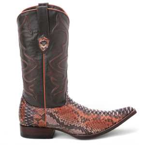Wild West Rustic Cognac & Black Genuine Python Boots