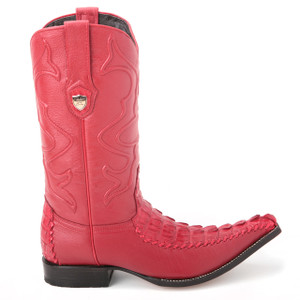 Wild West Red Genuine Caiman Tail Boots
