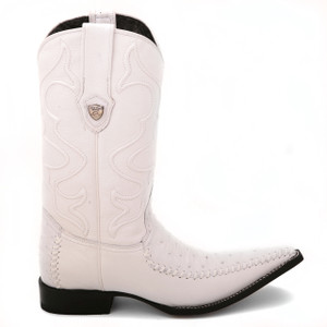 Wild West White Genuine Ostrich Boots