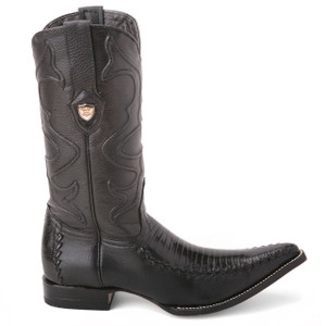 Wild West Black Genuine Teju Lizard Boots