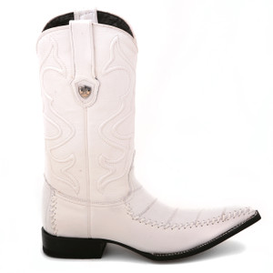 Wild West White Genuine Eel Skin Boots